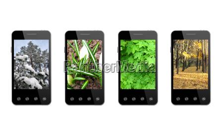 fire smart telefoner med farvede billeder