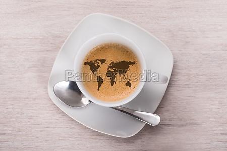kaffe med verdenskort