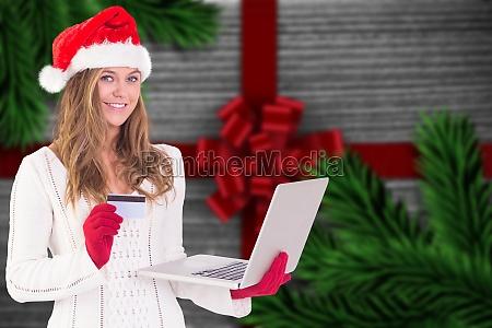 sammensat billede af festlige blonde shopping