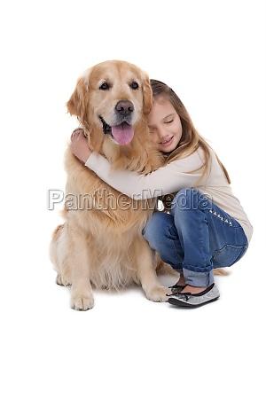 glad, pige, holde, hendes, hund - 13794611