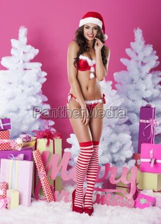 sexet kvindelig julemanden i undertoj