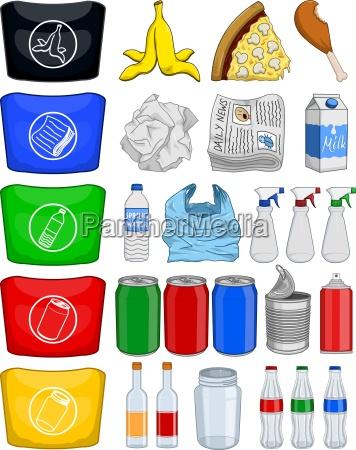mad flasker daser papir trash genbrug