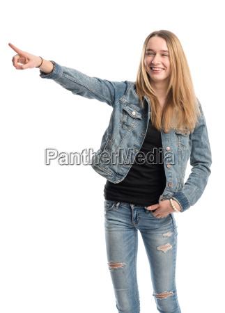 pige, giver, en, præsentation - 13867727