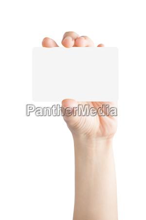 kvinde hand hold tomt kort