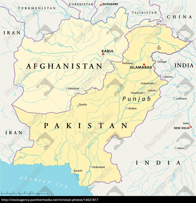 Afghanistan Og Pakistan Politisk Kort Stockphoto 14021817