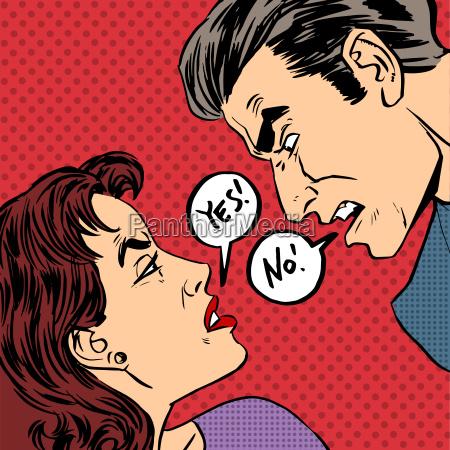 discussao irritada mulher do sexo masculino