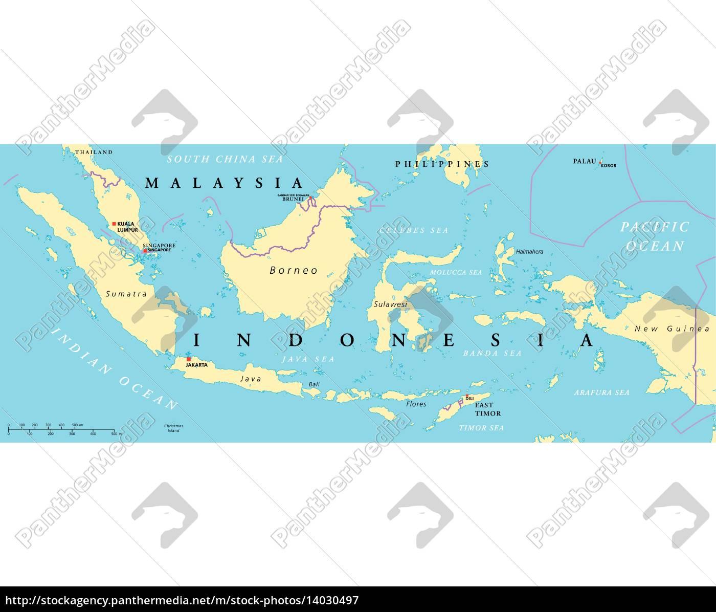 Malaysia Og Indonesien Politisk Kort Royalty Free Image