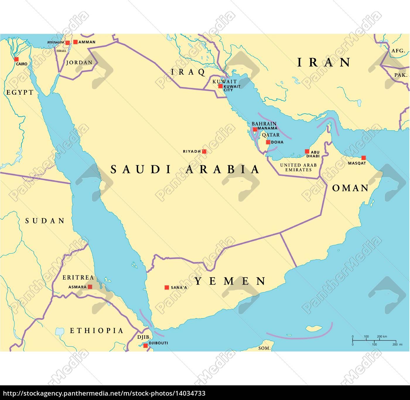 Arabiske Halvo Politisk Kort Royalty Free Image 14034733