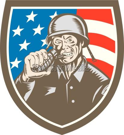 world war two soldier american grenade
