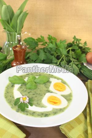 frisk urte suppe med aeg