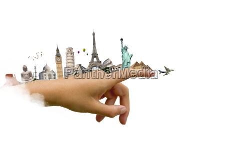 illustration, af, verdens, berømte, monument - 14126753