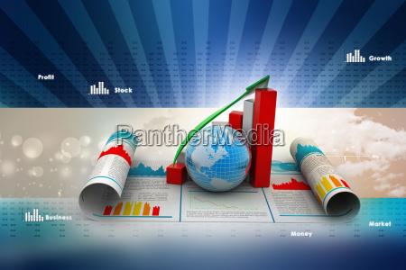 forretning vaekst graf og globus