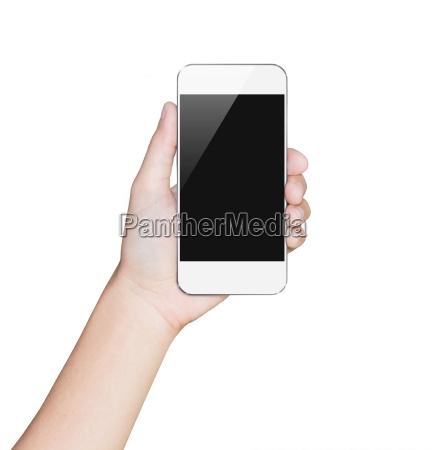 closeup hand hold smartphone hvid mobil