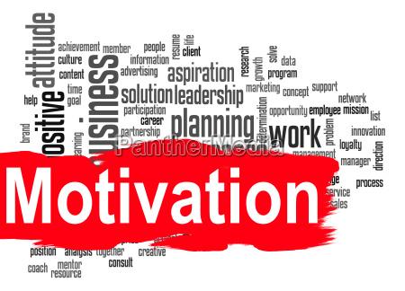 motivation ord sky med rode banner