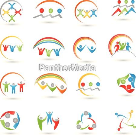 menschen logos sammlung team