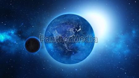 planeten jorden med sol i universet