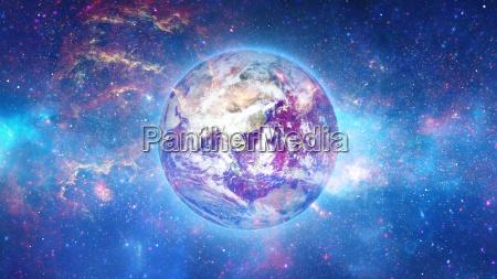 planet earth med sol i universet