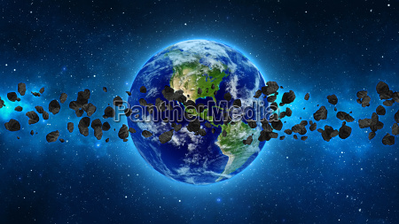 planet earth med asteroide i universet
