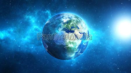 tierra del planeta con el sol
