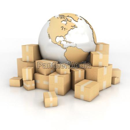 jorden og kasser i pap tekstur