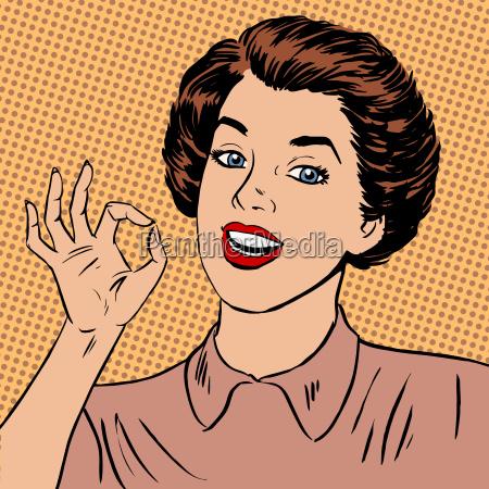 donna gesto mano ok arte fumetto