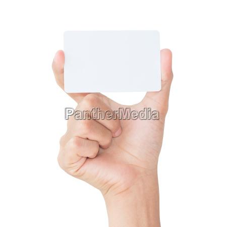 hand hold tomt hvidt kort isoleret