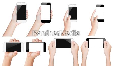 hand hold smartphone sort og hvid