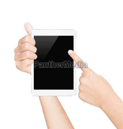 hand holder tablet skaerm hvid isoleret