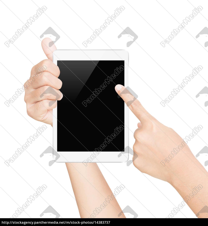 hånd, holder, tablet, skærm, hvid, isoleret - 14383737