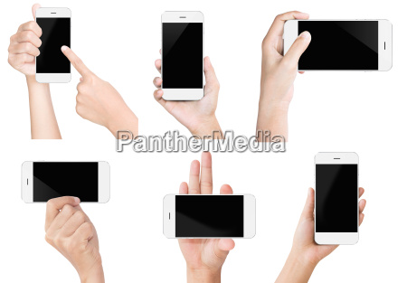 hand hold hvid moderne smart telefon