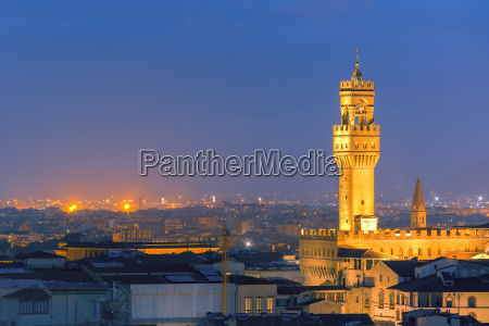 palazzo vecchio at twilight in florence