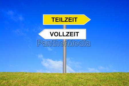 signpost skilt viser deltid eller fuld