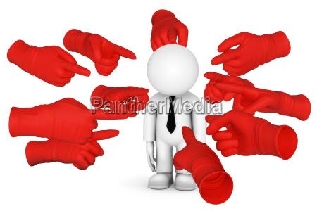 puntando con il dito rosso