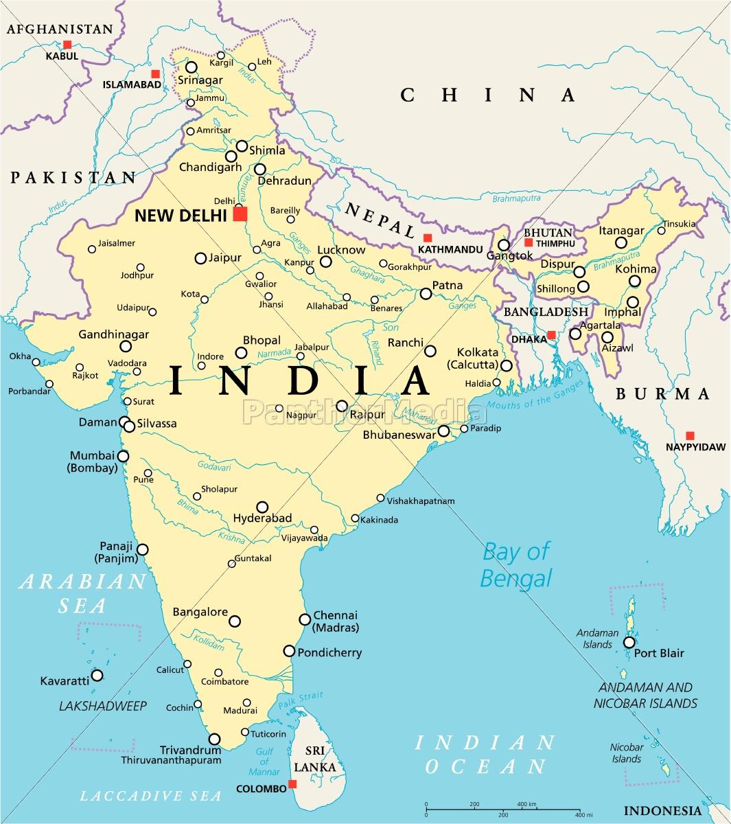 Indien Politisk Kort Stockphoto 14599689 Panthermedia
