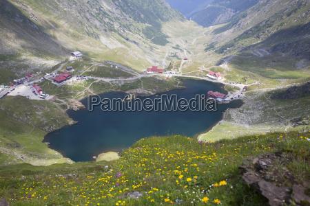 high mountain landscape with glacier lake