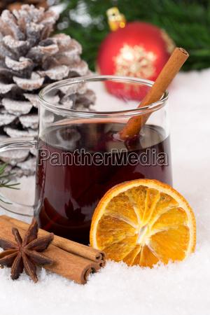 mulled wine at christmas om vinteren