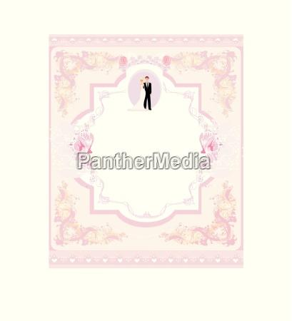 stilfuld bryllup invitationskort med vintage baggrund