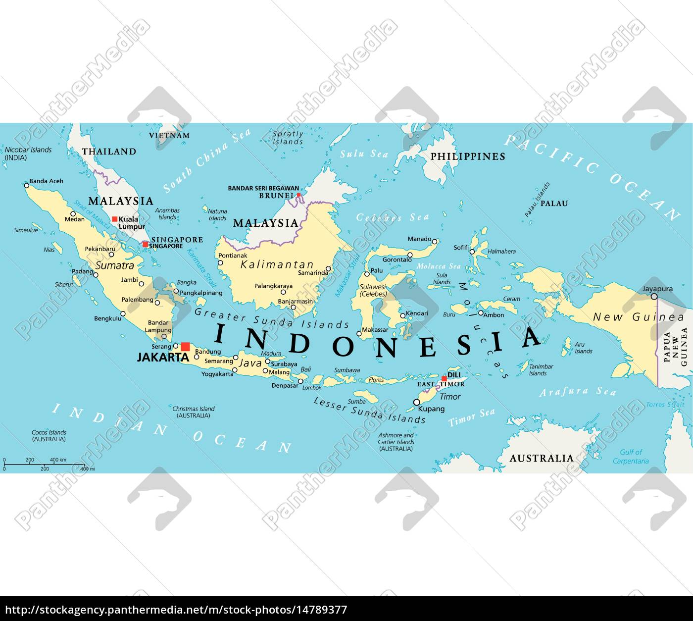 Indonesien Politisk Kort Royalty Free Image 14789377