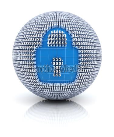 sikkerhedsikon pa globe dannet af dollartegn