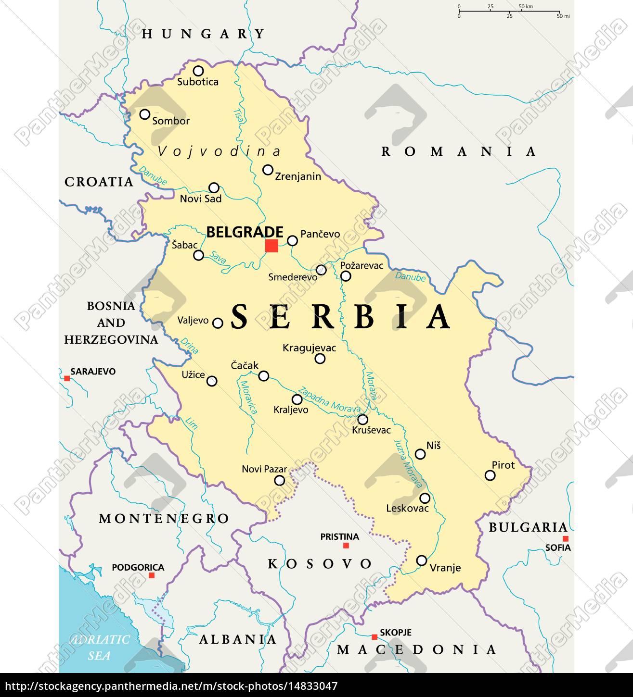 Serbien Politisk Kort Stockphoto 14833047 Panthermedia