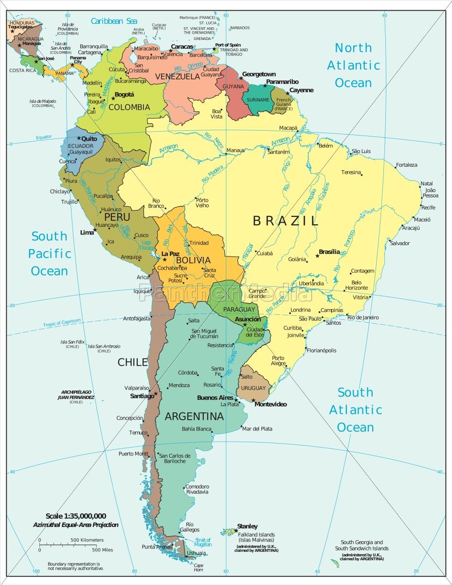 Sydamerika Region Kort Royalty Free Image 14833213