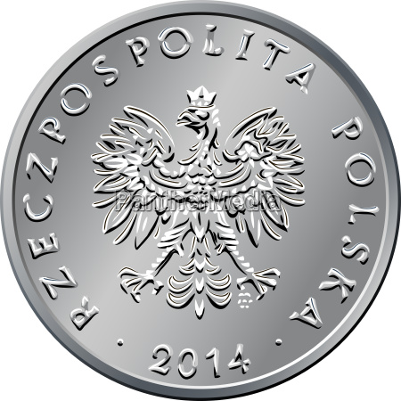 obverse polish money one zloty coin