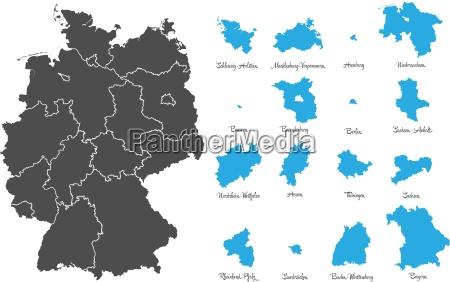 kort over tyskland med stater vector