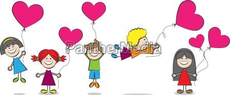 born med hjerte balloner vektor illustration