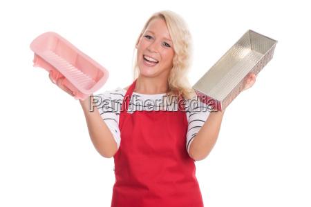 husmor i kokken forklaede holder forskellige