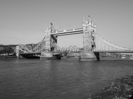 black and white tower bridge in