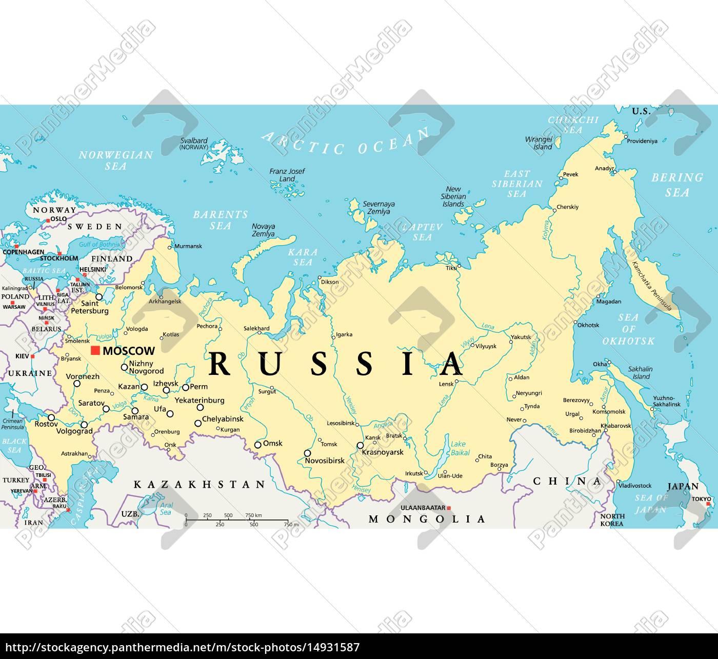 Rusland Politisk Kort Royalty Free Image 14931587