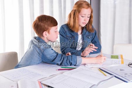 soster hjaelper bror med lektier