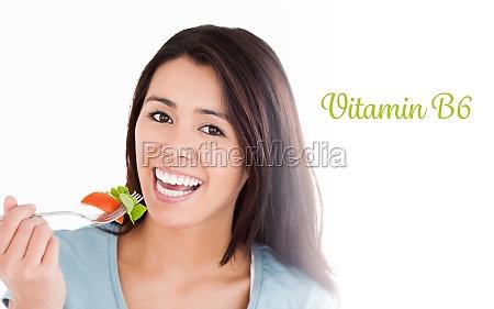 vitamin b6 against good looking woman