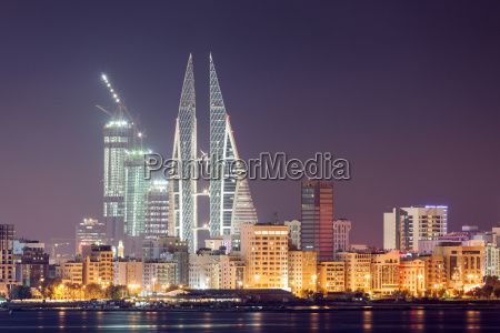skyline of manama at night bahrain